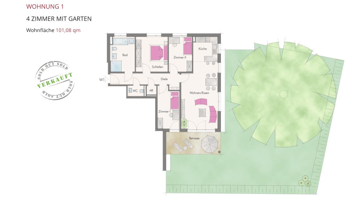 Wohnung 1 – 4 Zimmer mit Garten