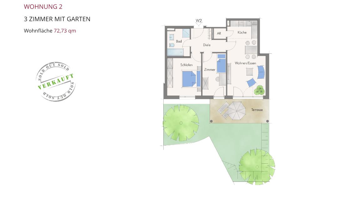 Wohnung 2 – 3 Zimmer mit Garten