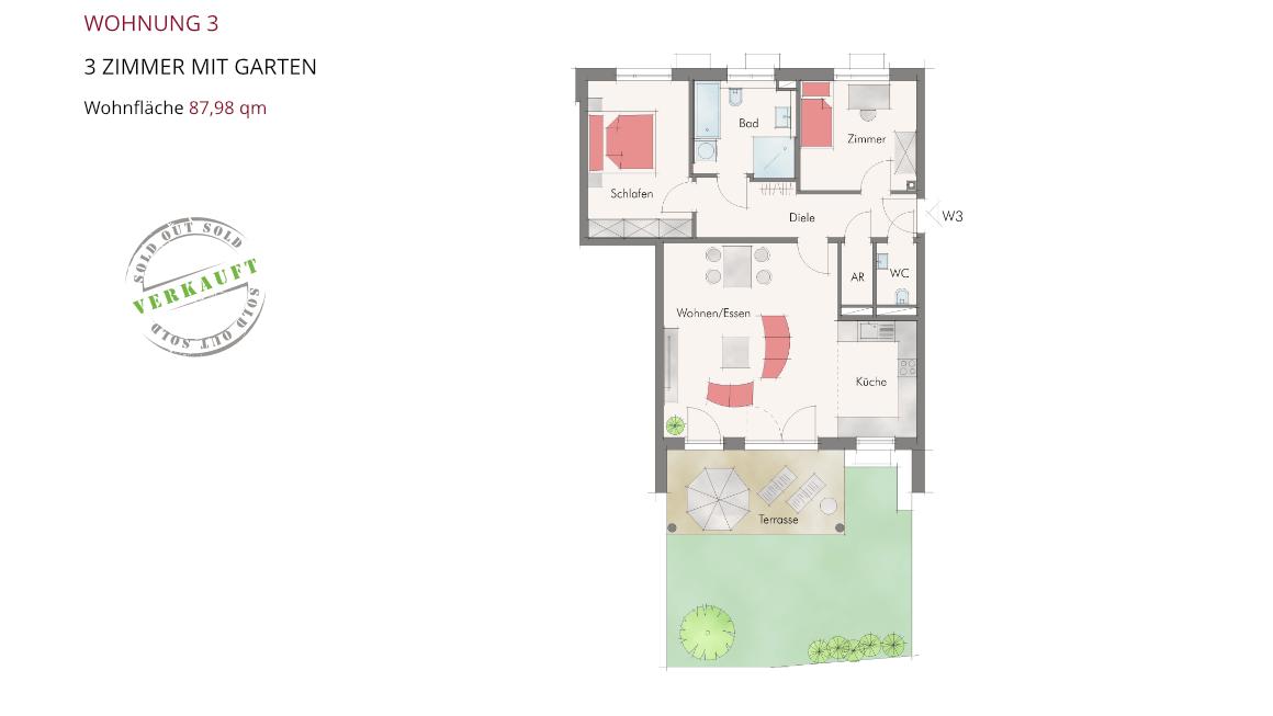 Wohnung 3 – 3 Zimmer mit Garten