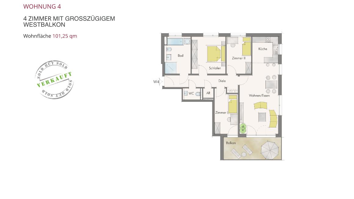 Wohnung 4 – 4 Zimmer mit großzügigem Westbalkon