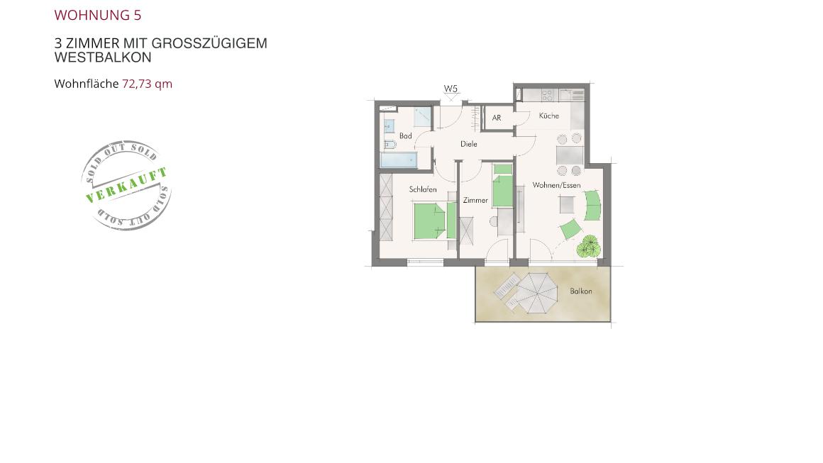 Wohnung 5 – 3 Zimmer mit großzügigem Westbalkon