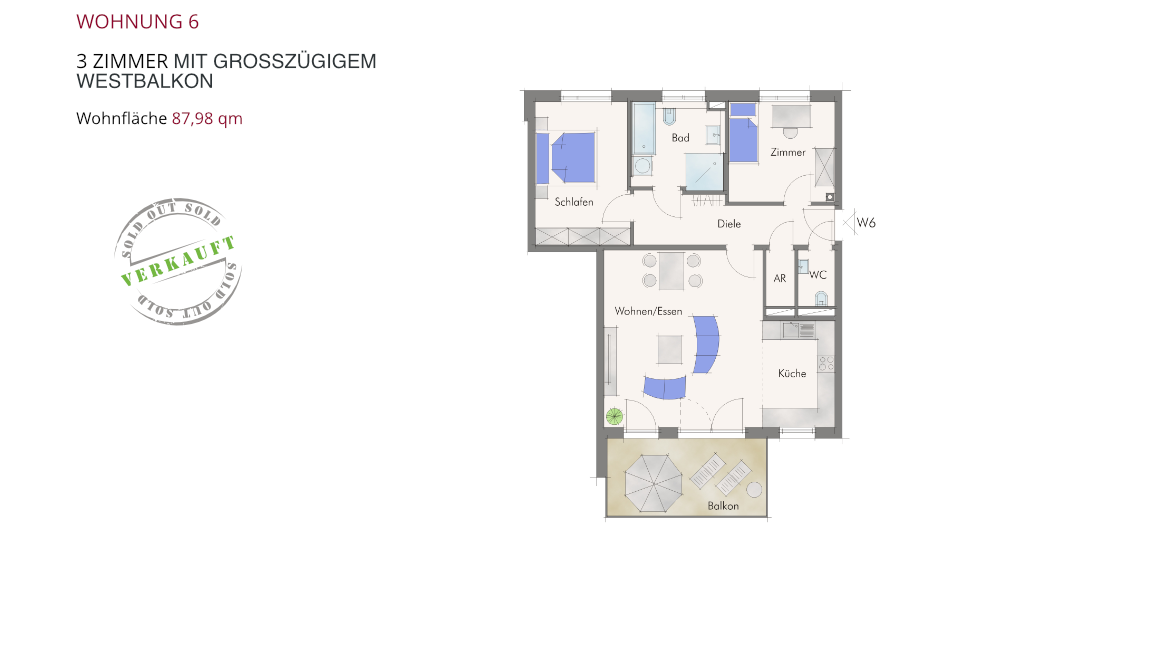 Wohnung 6 – 3 Zimmer mit großzügigem Westbalkon