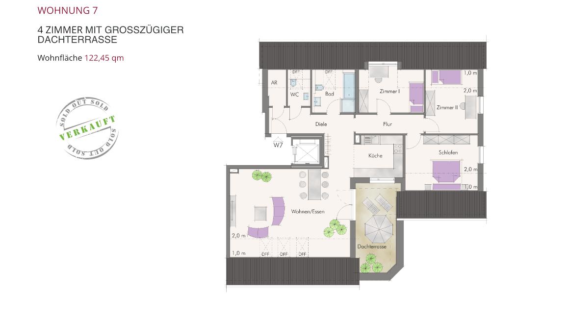 Wohnung 7 – 4 Zimmer mit großzügiger Dachterrasse