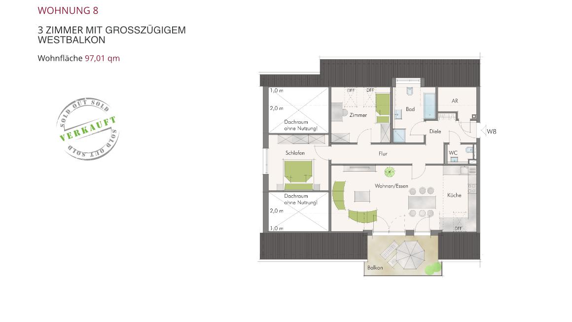 Wohnung 8 – 3 Zimmer mit großzügigem Westbalkon