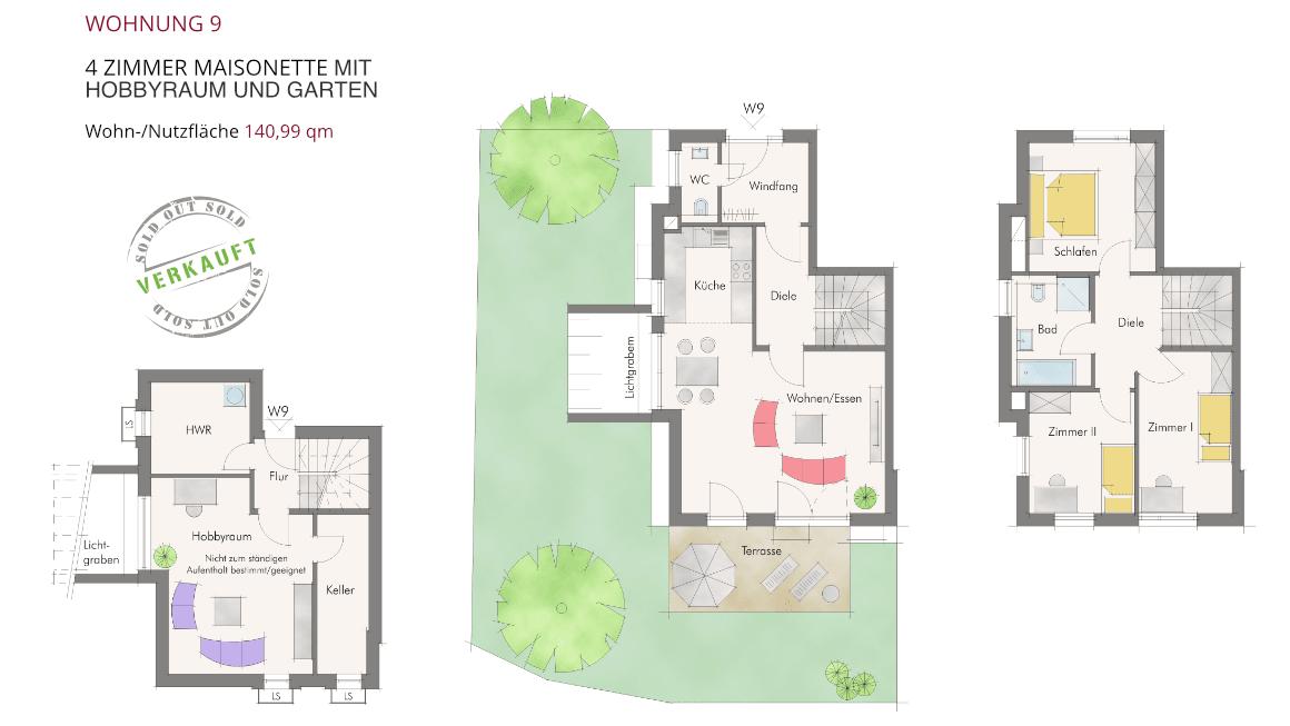 Wohnung 9 – 4 Zimmer Maisonette mit Hobbyraum und Garten